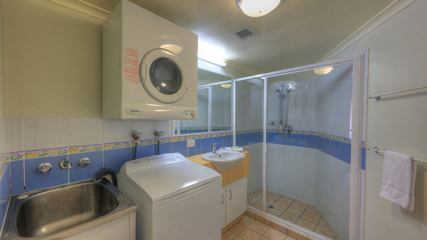 Bathroom and laundry in the seaview apartments